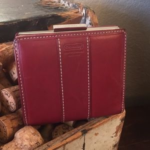 Coach Red Leather bi fold wallet